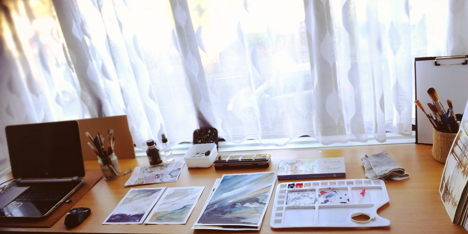 Home studio tour, work space next to the window. Creating art during pregnancy and maternity