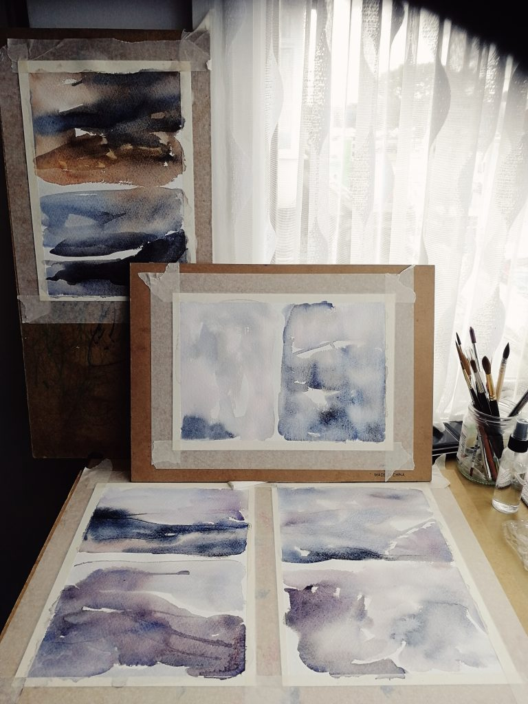 Watercolour backgrounds in process of creating, studio tour