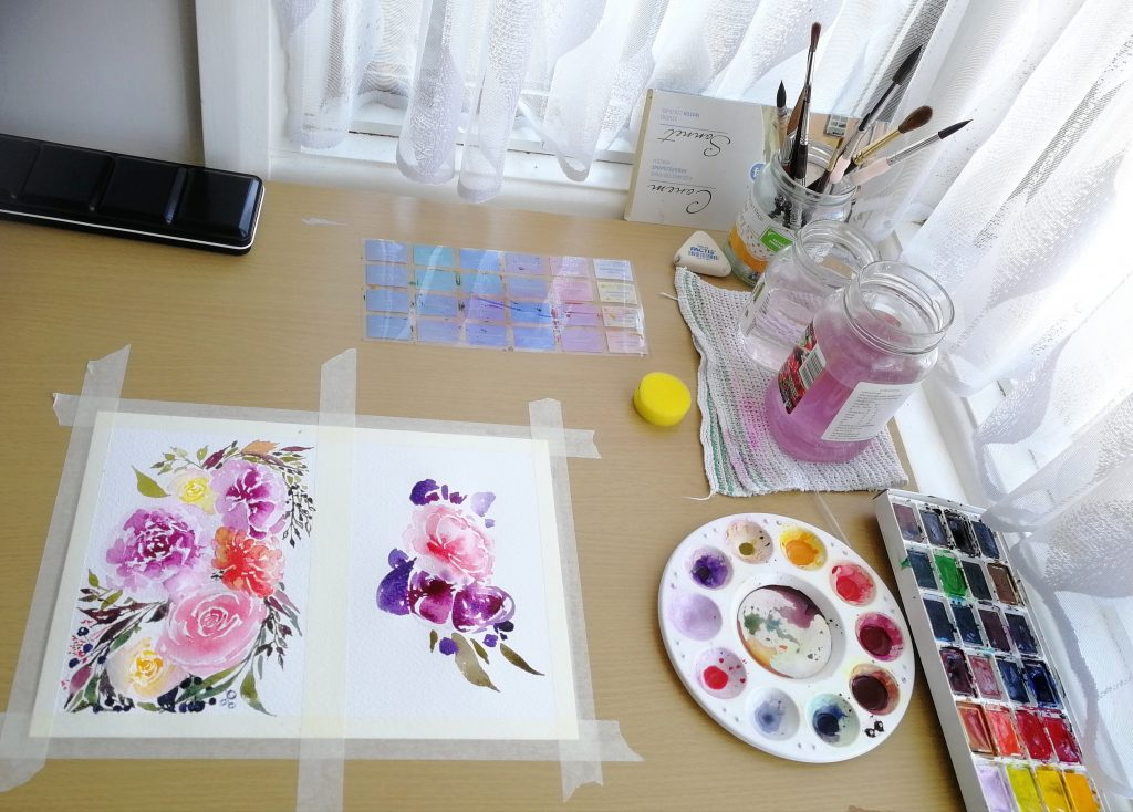 Creativity in pregnancy - Studio view with watercolour paintings of flowers in progress
