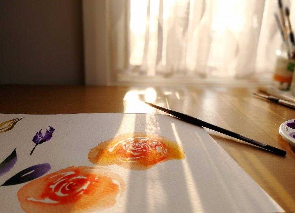 Creativity in pregnancy - Watercolour flowers sunlit in my home studio
