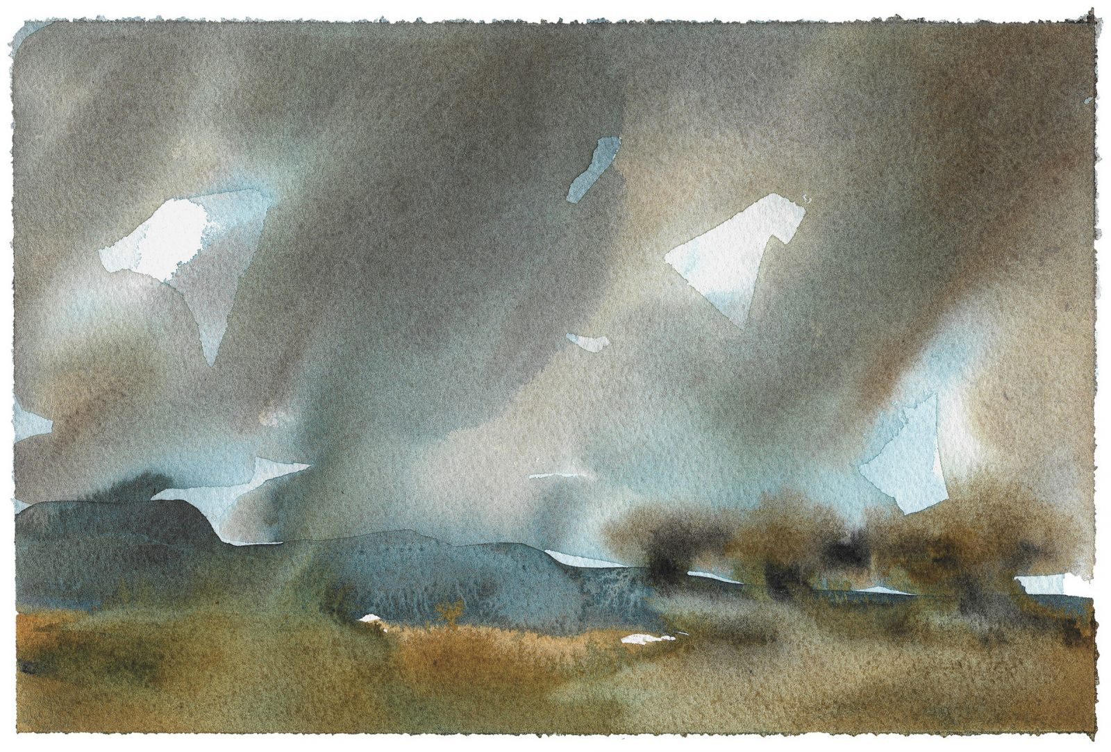 Abstract landscape art in watercolour in blue grey and ochre. Atmospheric sky