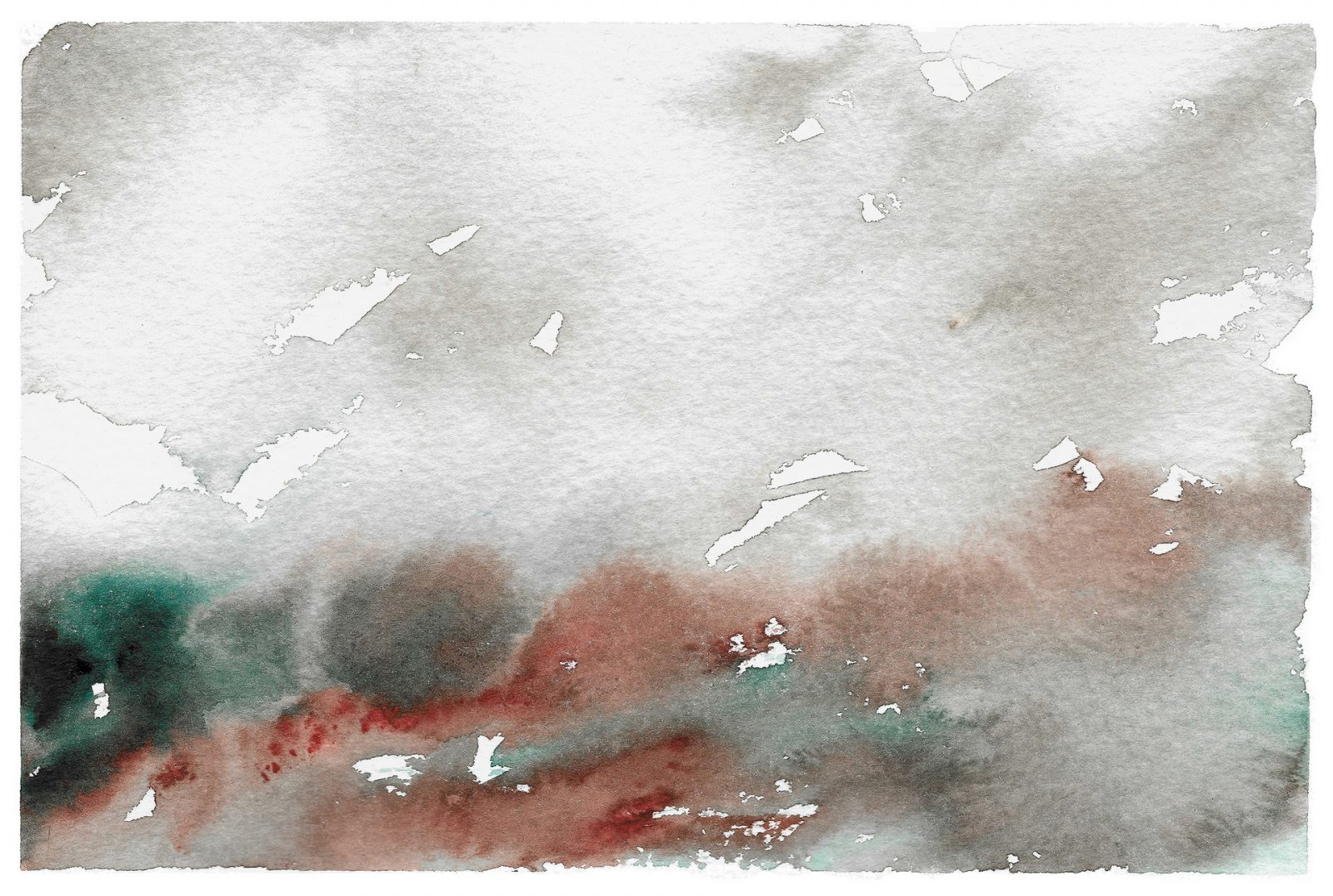 Abstract art, semi abstract landscape in grey, red and turquoise