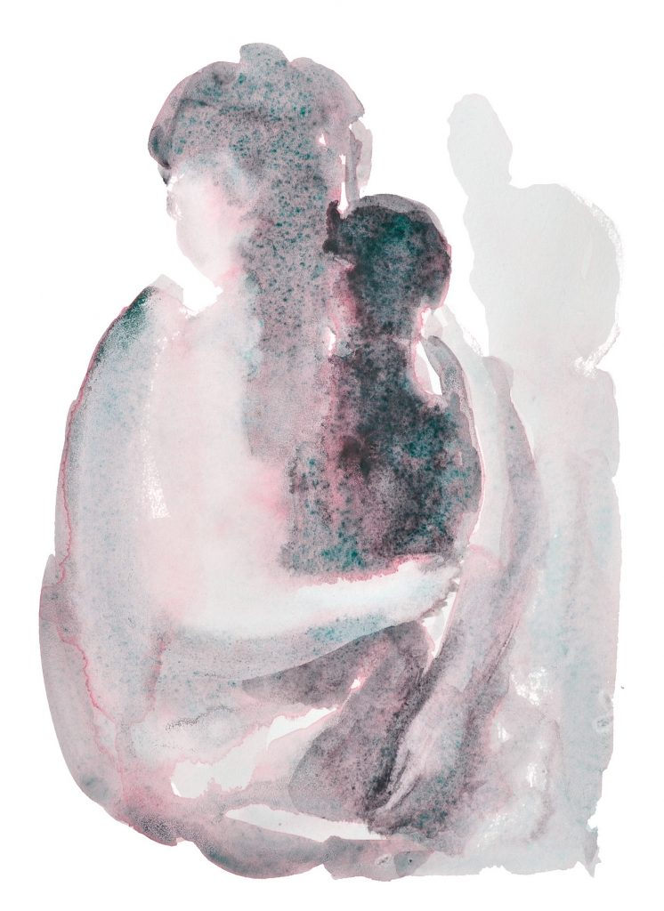 Mother and baby watercolor original painting in neutral colors