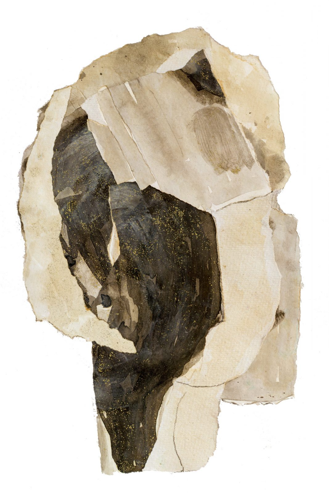 Commission Abstract Portrait Art head face in beige and brown